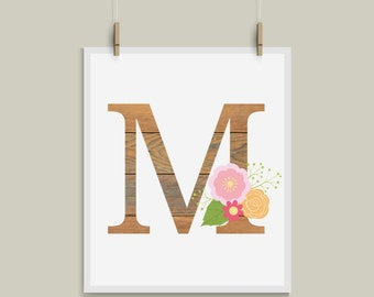 Old Wood Letter M Initial Monogram Alphabet Nursery Art Great for Weddings