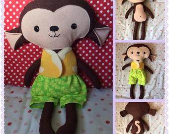 Super Cuddly Handmade Monkey Softie Doll