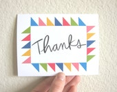 Thanks Notecard - Triangle Quilt Border - Blank Inside