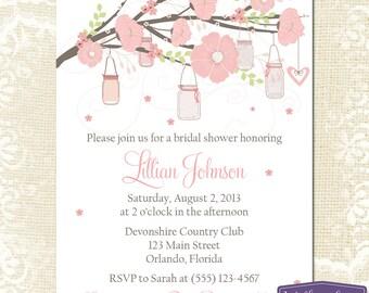 Bridal Shower Invitation - Hanging Mason Jar Bridal Shower Invitation - Bridal Shower Invite - Pink Mason Jar - Wedding - 1178 PRINTABLE