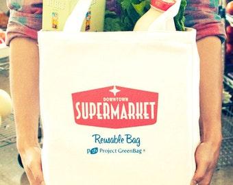 Supermarket Bag - 100% Organic Cotton Reusable Shopping Bag - Made in USA