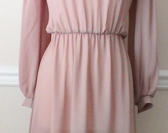 Vintage 1970's Beige Shoulder Detail Dress