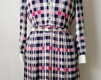 Vintage Lambelle Dress with White/navy Blue/Hot Pink