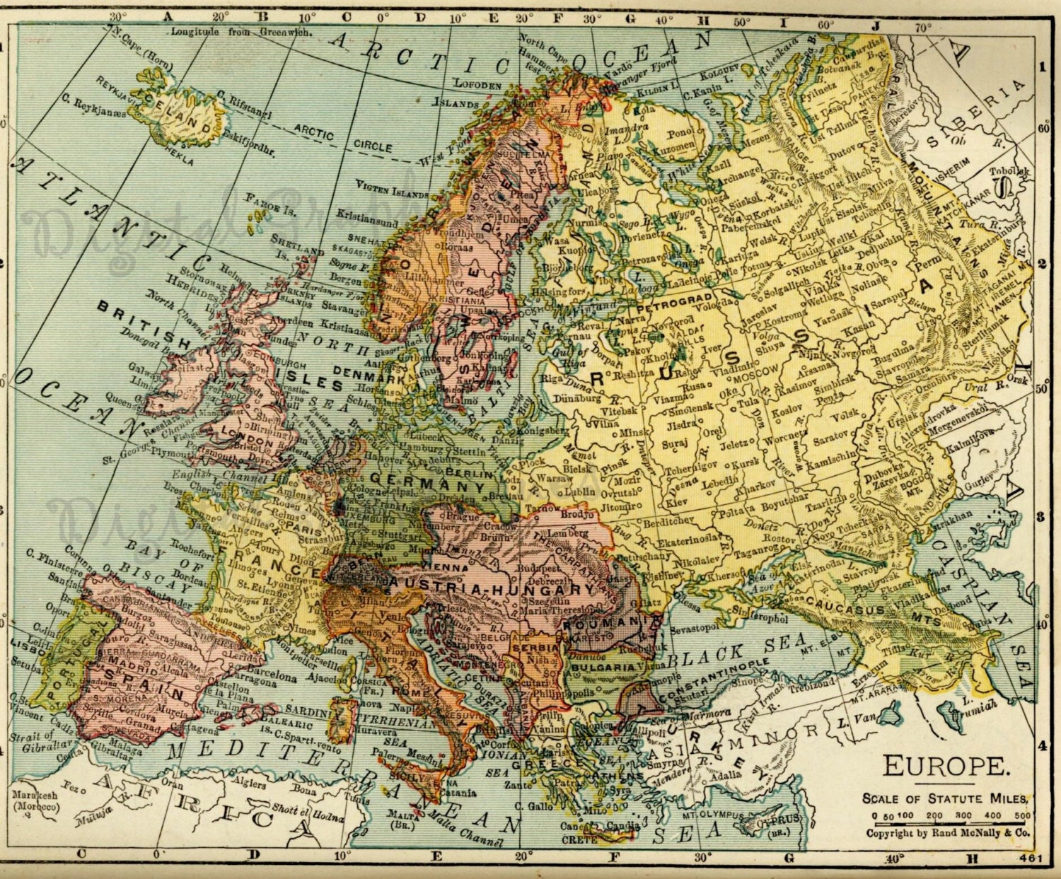 1917 Europe Atlas Map Color Collage Clip Art Instant
