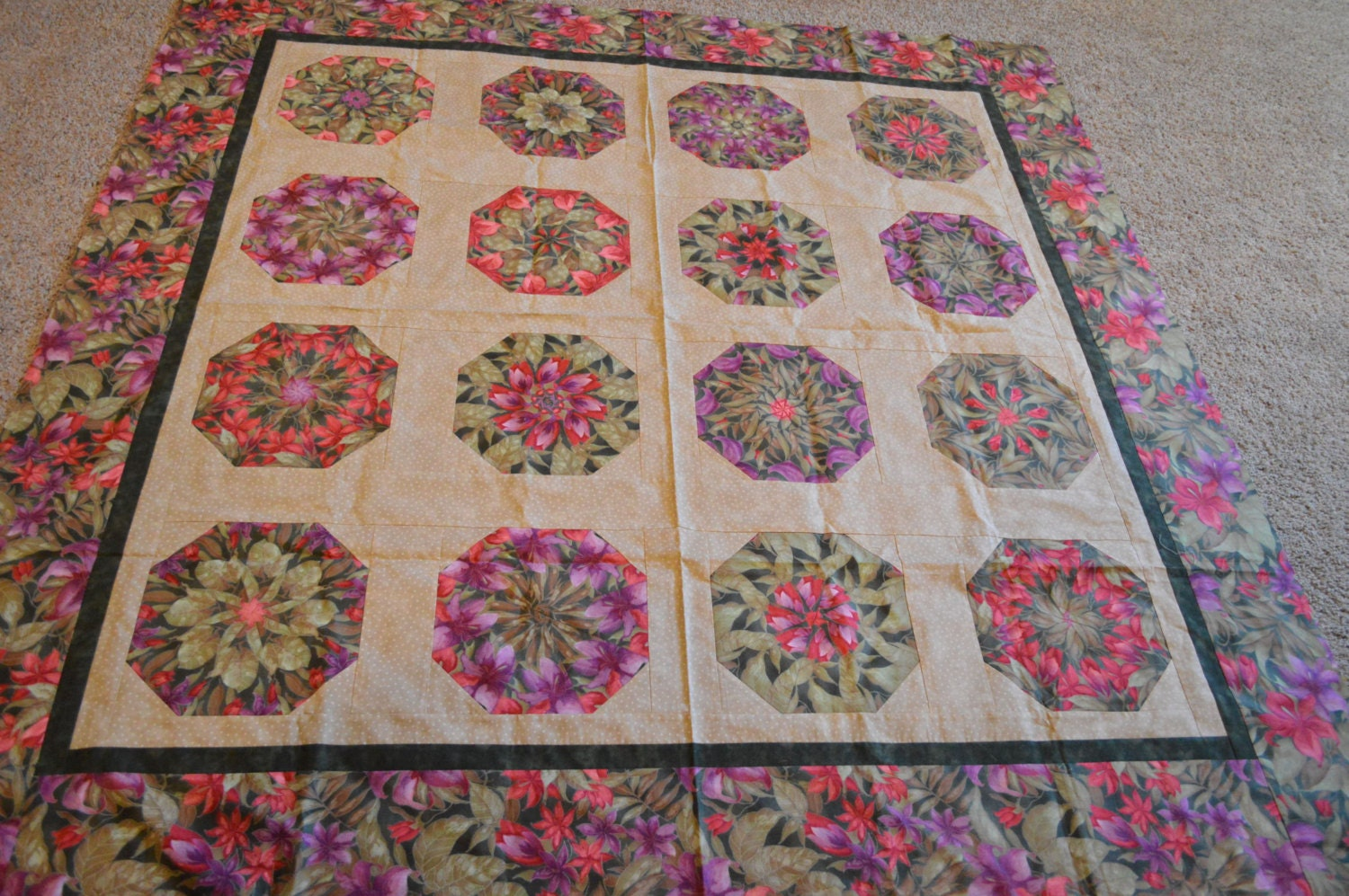 Quilt Top Stack And Whack Kaleidoscope Unfinished Ready To