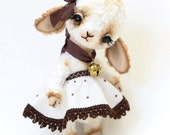 "Teddy Bear stile Artist viscose Lamb "" Lada"" 8 inch handmade OOAK collectible jointed Teddy Bear toy"