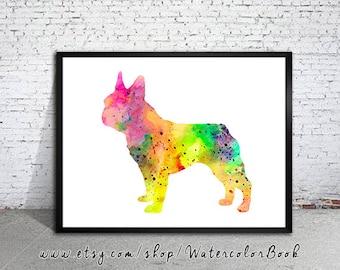 Colorful French Bulldog 3 Watercolor Print, Home Decor, dog watercolor,watercolor painting, French Bulldog art,animal watercolor,Bulldog art