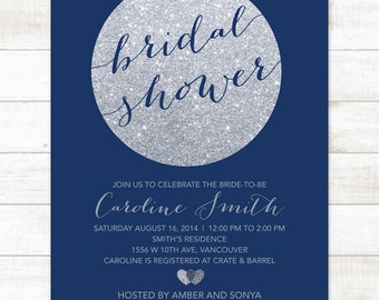 navy silver bridal shower invitation navy silver glitter printable modern shower digital invite customizable