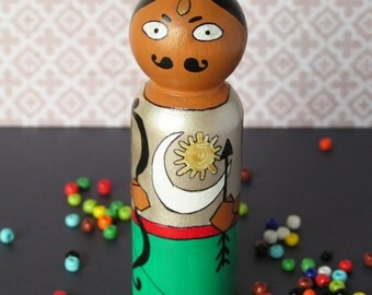 Arjuna - Handpainted Wooden Indian Golu Mahabharata Pandava Peg Doll