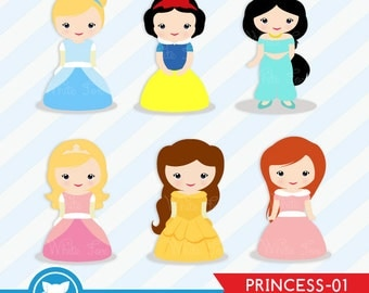 50% OFF SALE PRINCESS Digital Clipart / Fairytale Clipart / Personal and Commercial Use / Instant Download /  Item Number: Princess-01
