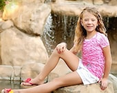 Ego Girl Outfitter Kids Burnout Zebra Stripe T Shirt (Hot Pink White), Teal Blue Green Icon