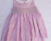 Vintage Carriage Boutique by Friedknit Creations Dress 12 months Beautiful Pink Smocked Dress
