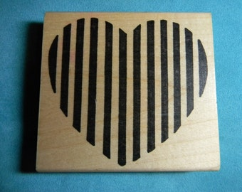 Imagine That - Rubber Stamp - Large Striped Heart