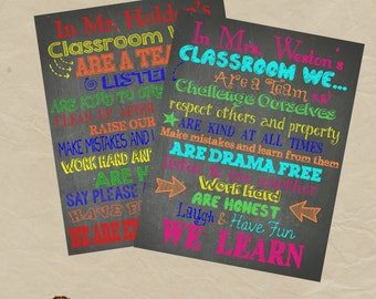 Personalized Teacher Classroom Chalkboard Poster - Any Colors