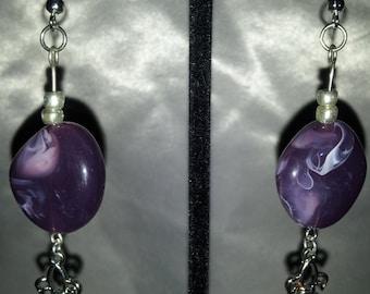Purple Fleur de Lis, necklace and earring set