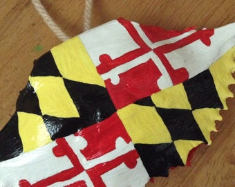 Maryland Flag Crab Shell Ornament