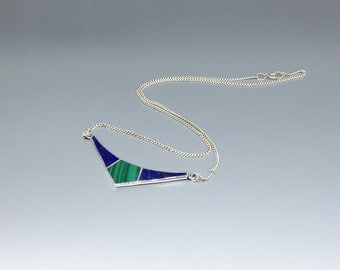 Lapis Lazuli and Malachite necklace Sterling silver inlay - natural Lapis Lazuli - blue and green necklace - gemstone jewelry-Christmas gift