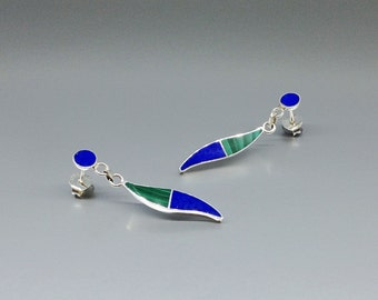 Playful earrings with Lapis Lazuli, Malachite and Sterling silver inlay work - gift idea - blue and green long earrings - AAA Grade stone