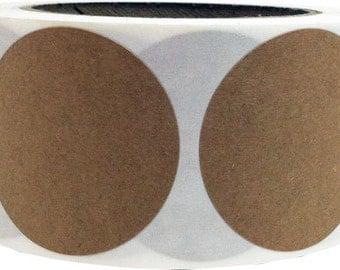 "Natural Kraft Paper Adhesive Labels - 2"" Inch Round 