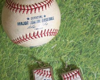 Baseball Earrings- Glass Back- Text- Square 1 inch