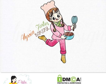 Premade Custom Bakery Small Business Watercolor Logo Design – LD013