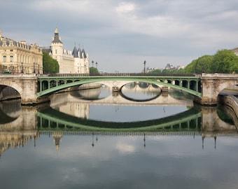 Paris photography, Paris bridges, Seine reflection, Paris Seine, architecture, French wall art, Paris decor, home decor, fine art print
