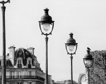 Paris black and white photography, Paris lamp posts, Paris photography, black and white photo, streetlamps, fine art print