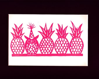 Owl with Pineapples Linocut Print