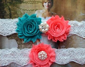 Teal and Coral Wedding Garter Set