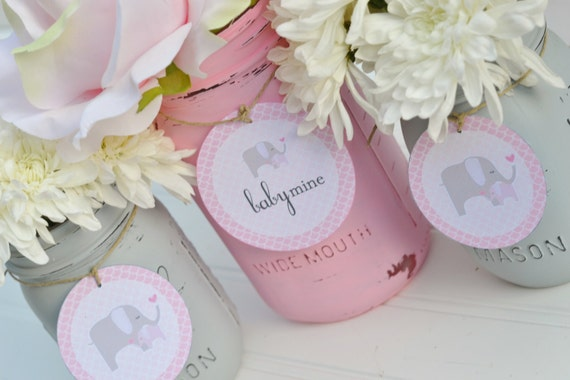 baby shower centerpiece cards mason jar cards pink elephant baby