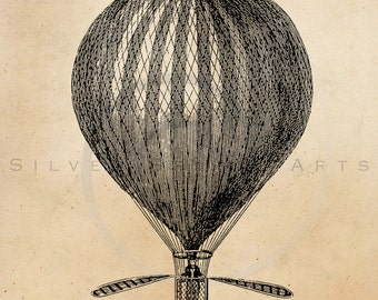 Vintage Hot Air Balloon Illustration Printable 1800s Antique Steampunk Aerostation Print Instant Download Retro Black & White Drawing ZS