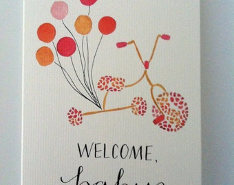 Welcome Baby Bicycle Greeting Card