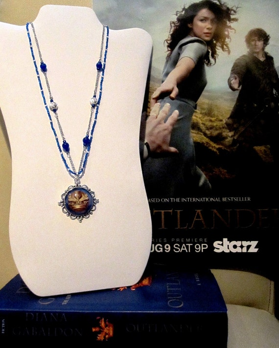 Outlander inspired silver and cobalt blue beaded glass pendant necklace