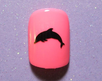 Dolphin vinyl nail decal stickers- nail art stickers- nail decals (choose 25 or 50 nail decals)