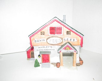 "Vintage 1993 Lemax ""Harley's General Merchandise"" General Store Lighted Christmas House"