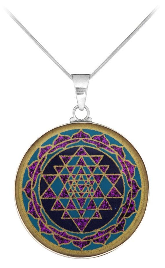 sri yantra semi precious pendant lapis lazuli