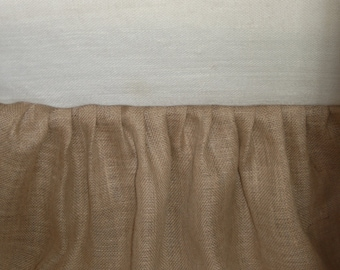 Rustic, Natural Burlap Bedskirt , Ruffled with Hand Embroidered Hem Custom Color King or Cal. King sizes.Split Corners.