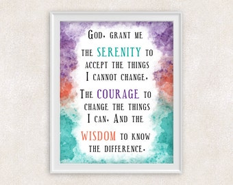 Serenity Prayer Art Print - 8x10 - Inspirational Quote Wall Art in Purple, Orange, & Teal - Modern Christian Art - Item #717