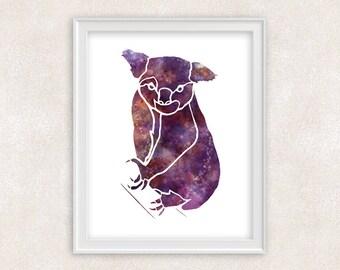 Koala Watercolor Print - Animal Watercololr Art - Home Decor 8x10 PRINT - Item #724B