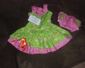 Poppy's Peekaboo shabby chic baby dress and diaper cover