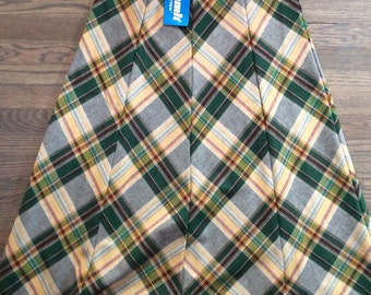 Floor Length Belted Plaid Skirt with Tags