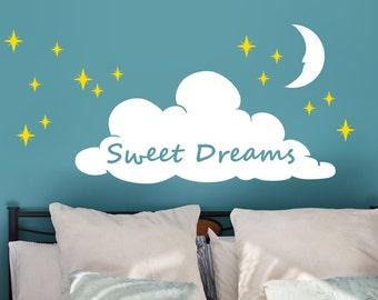 Sweet Dreams Sleepy Cloud Stars Vinyl Wall Decal Set