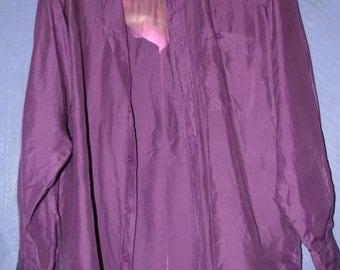 Vintage 90's Purple 100% Silk Shirt