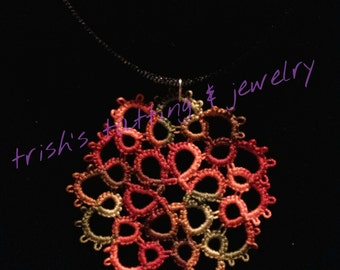 Needle Tatted Flower Pendant with black satin cord