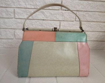 1950s Pastel Gold Frame Handbag