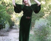 1930s Vintage Dress / 30s Dress / Silk Velvet Dress/  Emerald Green Dress / Old Hollywood / 30s Evening Dress / Glamour / Small