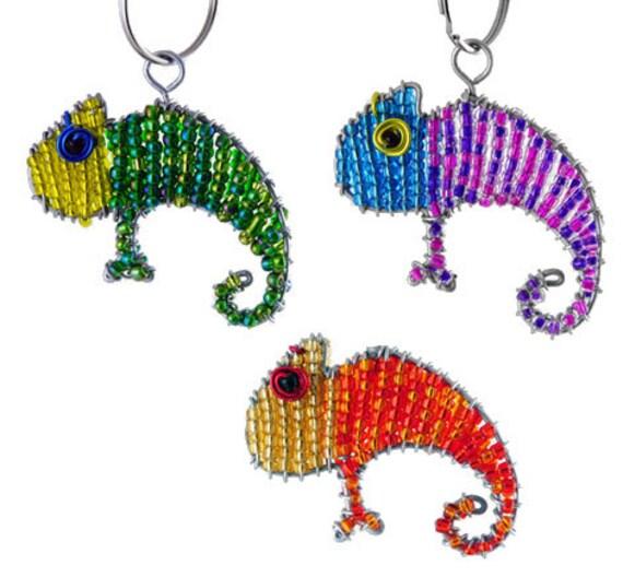 beaded chameleon keychain or zipper pull beaded