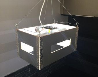 Industrial Style Ceiling Light Minimalist Chrome Silver Metal Scyfy Aluminium Box Crate Modern Futuristic