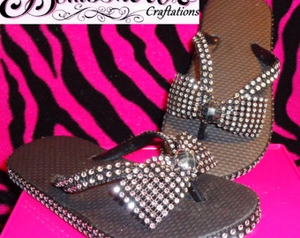 Black bling girls flip flops with bling bow size 11/12.( But can be done in any color, any size.)