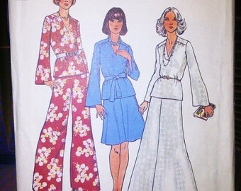Retro 70's Skirt Pants Tunic Simplicity 6520 UNCUT Wide Leg Belted Maxi Dress